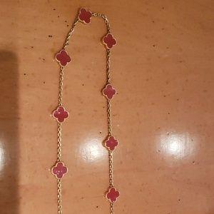 Clover red enamel necklace